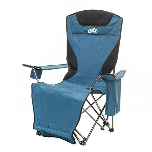 Qeedo Camping-Stuhl Johnny Relax bis 105 kg, Klappstuhl, Fußablage, Getränkehalter - blau