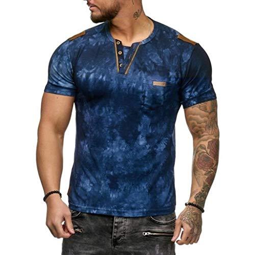 Herren Sommer T-Shirt Basic Shirt Rundhalsausschnitt Tarnmuster Lässige Mode Kurzarmshirt Kurzarm Oansatz Tops Bluse Hemd Sommerkleidung Streetwear