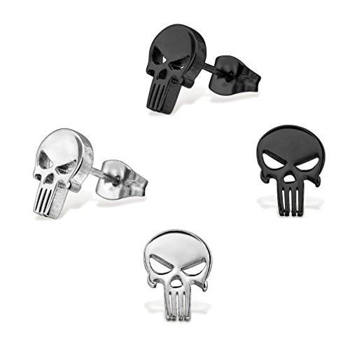 2 Paar Herren Totenkopf Punisher Ohrstecker Ohrringe Schwarz und Silber Edelstahl 10mm