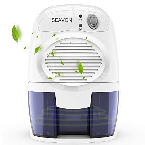 SEAVON Elektrisch Luftentfeuchter, Raumentfeuchter MD-819 für 1500 Kubikfuß, 16 Unzen Mini ruhiger sicherer Luftentfeuchter für Badezimmer, Wohnmobile, Keller, automatische Abschaltung