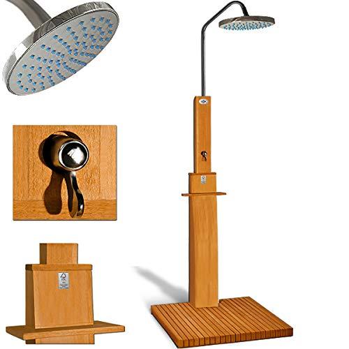 Gartendusche Sauna Dusche Pooldusche | FSC-zertifiziertes Eukalyptus Holz | Duschkopf mit 2 Komponentensystem