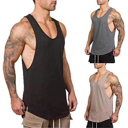 Herren Gym Muscle Weste Solid Color Low Cut Bodybuilding Tank Top Technische Stringer Lifting Fitness Übung Laufen Outfit Tops M-XXL (XL, grau)