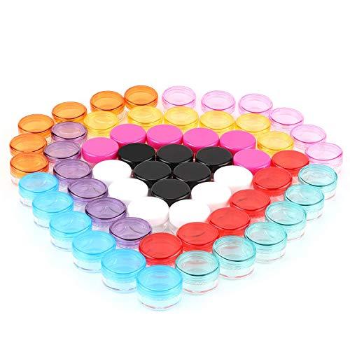 60er 5ml Döschen Tiegel für Kosmetik Lippenbalsam Lippenpflege Nailart Salben, Kleine Mini Leer Döschen Dose Dosen Tiegel Behälter, mit Deckel Plastik 5ml