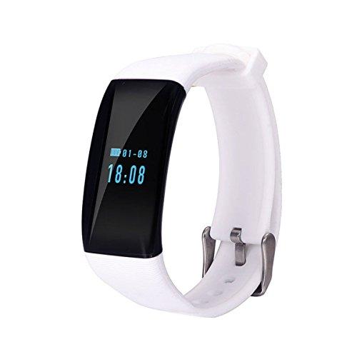 longess Fitness Tracker, app-enabled Bluetooth 4.0Wasser Widerstand Smart Watch, Schlaf und Herzfrequenz Monitor kompatibel mit Android und iOS Smartphones, weiß