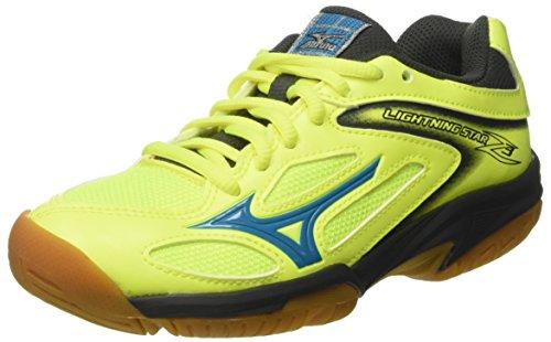 Mizuno Unisex-Kinder Lightning Star Z3 JNR Sportschuhe, Mehrfarbig (SafetyYellowAtomicBlue/DarkShadow 46) 36.5 EU