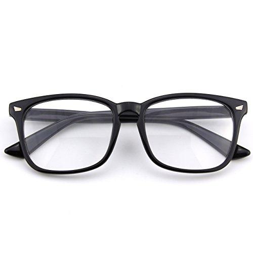 CGID CN82 Damen Herren Streberbrille:klassische Fashion Brille Oversized Bold Large Square Frame Keyhole Nerd Geek Style,Clossy Schwarz