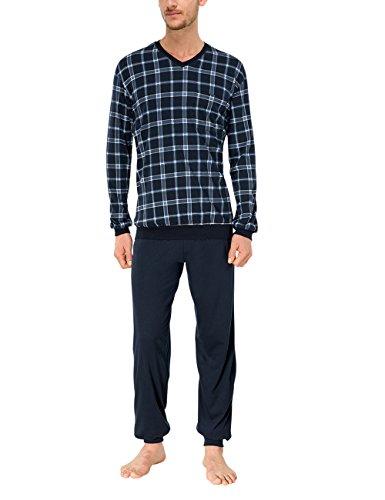 Schiesser Herren Schlafanzug lang mit Bündchen Zweiteiliger, Blau (blau 800), Gr. XL (Herstellergröße:110)