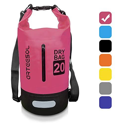 ARTEESOL Dry Bag - 5L/10L /20L /30L Wasserdichte Packsack/Trockentasche, Verstellbarer Schultergurt Inklusive, Geeignet für Kajak-, Boot-, Kanufahren/Angeln/ Rafting/Schwimmen (Rose Rot, 30L)