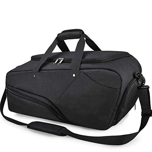 NUBILY Sporttasche Herren Reisetasche mit Schuhfach Groß Gym Fitness Sport Tasche Handgepäck Weekender 45 Liter Trainingstasche Sporttasche für Männer und Frauen Schwarz