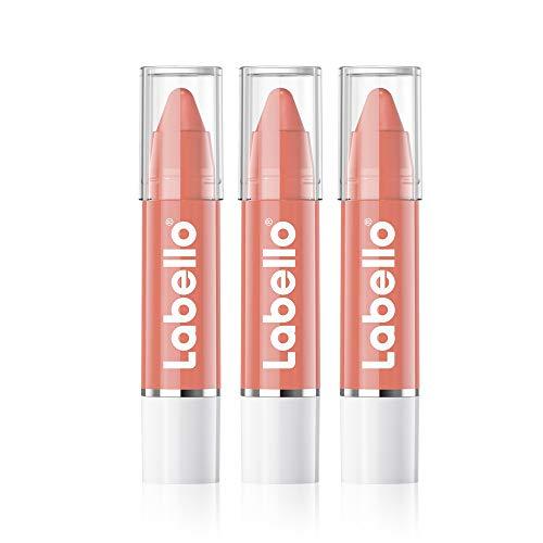 Labello Lips2Kiss Color Lip Balm Rosy Nude im 3er Pack (3x 3g), Lippenpflege mit intensiver Farbe, Lippenstift mit echter Labello Pflege, nude