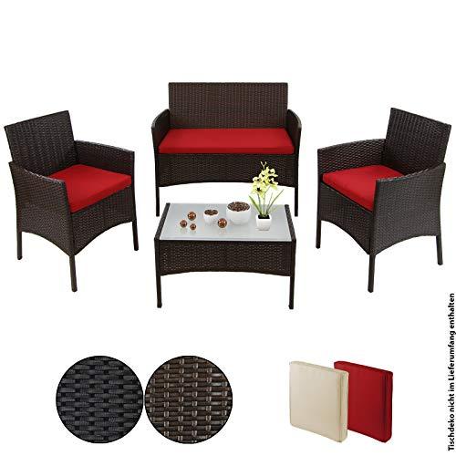 BB Sport 7-teilige Polyrattan Sitzgruppe für 4 Personen inkl. Sitzpolster und Tisch, Farbe:Schwarz-Braun meliert/Abendsonne