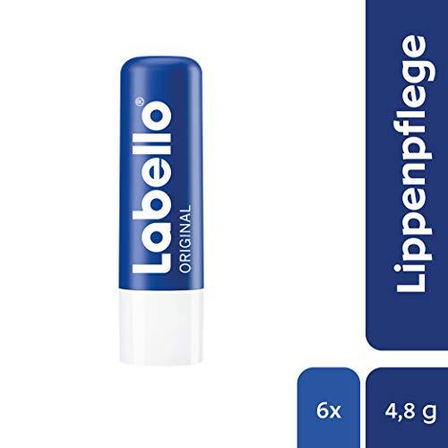 Labello Original Lippenpflegestift im 6er Pack (6 x 4,8 g), Lippenpflege für natürlich schöne Lippen, Lippenbalsam ohne Mineralöle schützt vor dem Austrocknen