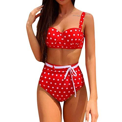 Zottom Bademode Push Up Bikini Badeanzug Bikinihose, Frauen-reizvolle Wellen-Punkt-Druck-Badeanzug-Verband-Bikini-Set mit hohen Taille Bademode