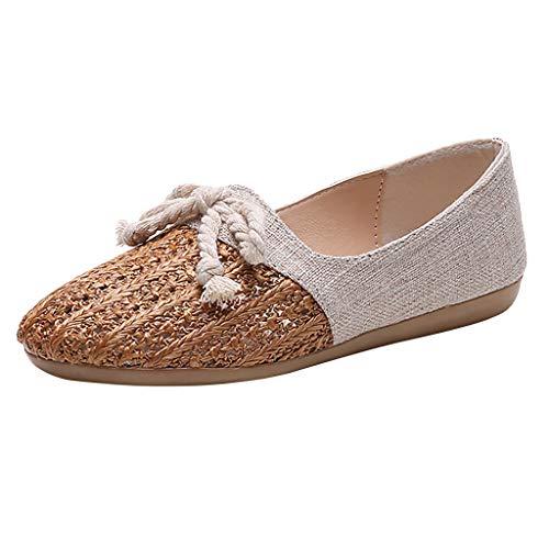 YEARNLY - Damen Schuhe Espadrilles Ballerina - Folk/Ethnisch - Böhmen - Flache - Geflochten - mit Stroh - Basic Blockabsatz 2 cm