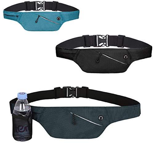4Good Flache Bauchtasche mit RFID Schutz/Running Belt Laufgürtel Hüfttasche Reisetasche Wandertasche Damen (Navi Blau)