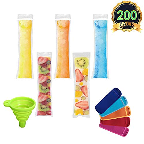 AUTOPkio Eis Popsicle Form Taschen, 200 Stück Ice Pop Taschen mit 1 Stück Trichter und 5 Stück Ice Pop Sleeves für Joghurt, Eis Süßigkeiten oder Freeze Pops, BPA Free Gefrierschrank Zip-Top