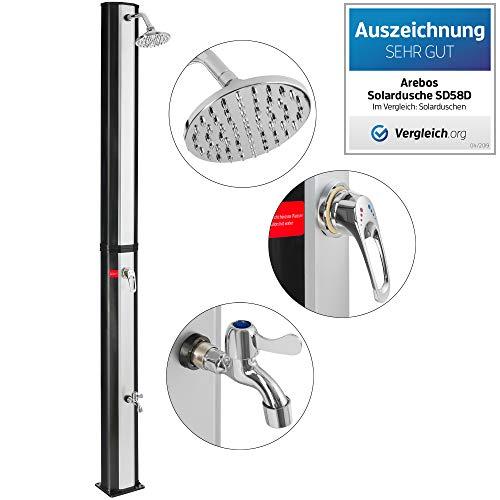 Arebos Solardusche 35 l / 217 cm/Regulierbare Wassertemperatur/Mit Fußdusche/Schwenkbarer Duschkopf
