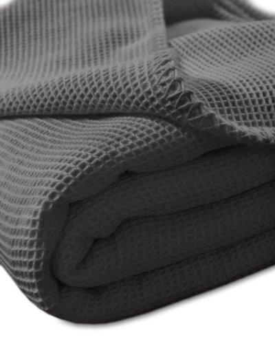Kneer Waffelpique Decke, Baumwolle, Anthrazit, 150 cm x 210 cm