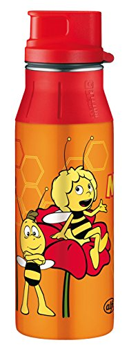 alfi 5377.151.060 Trinkflasche elementBottle II, Edelstahl Biene Maja Orange 0,6 l, Spülmaschinenfest, BPA-Free