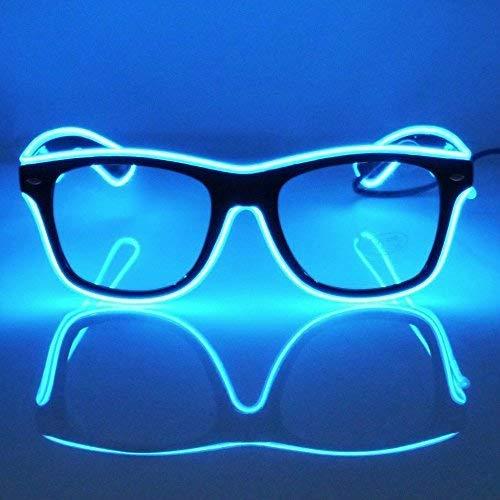 GCBTECH EL Wire Leuchtbrille Leuchten Cool Brille LED Drahtbrille Leucht Sonnenbrille Leuchtband Partybrille mit Batterie Box für Kinder Party Club Stage Disco (Blau)
