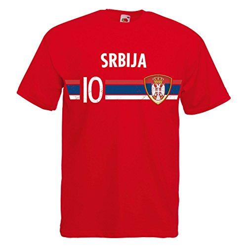 Fußball WM T-Shirt Fan Artikel Nummer 10 - Weltmeisterschaft 2018 - Länder Trikot Jersey Herren Damen Kinder Serbien Srbija XL