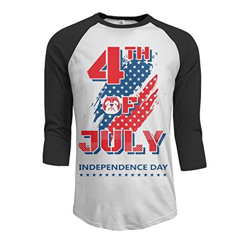 Bestimmte glückliche 4. Juli Mops Leben Unabhängigkeitstag Männer Raglan Ärmel Baseball T-Shirts Amerikanische amerikanische Flagge Tshirts Heimtierbedarf für Hunde Herren Kleidung schwarz L