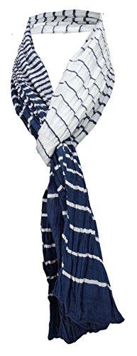 TigerTie Schal in dunkelblau marine weiss gestreift - Tuch 100% Baumwolle Gr. 165 x 50 cm
