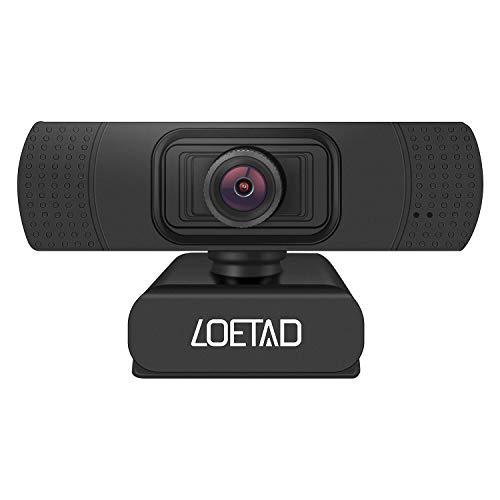 LOETAD Webcam, 1080P Full HD PC Kamera mit Mikrofon USB für Video Chat Streaming Kompatibel mit Windows Mac OS Android Linus (Verpackung MEHRWEG)