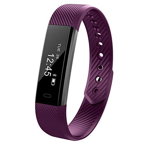 TYESHA Fitness-Tracker, Smart-Armband mit Herzfrequenz-Monitor, IPX7 Wasserdichter Aktivitätstracker, Touchscreen, Schrittzähler, Schlafmonitor, kompatibel mit iPhone Android, violett