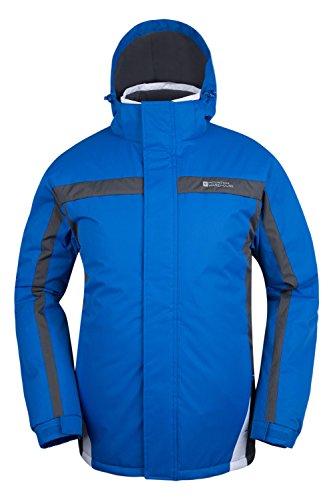Mountain Warehouse Dusk Skijacke für Herren - Wasserbeständig, Fleecefutter, Schneerock, Kapuze und Bündchen zum Verstellen - Ideale Skibekleidung im Winter Blau Large