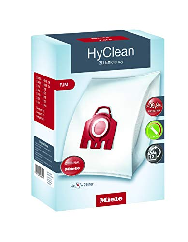 Miele 9917710 4 Staubbeutel FJM HyClean 3D, 1 Air Clean Abluftfilter für saubere Raumlauft, 1 Motorschutzfilter, rot