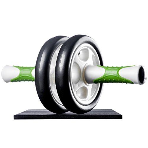 Ultrasport AB Roller Bauchtrainer, Bauchmuskeltrainer, Muskelaufbau und Abnehmen an Bauch Beine Po - Bauchroller inklusive Knieauflage und Trainingsanleitung, Grün