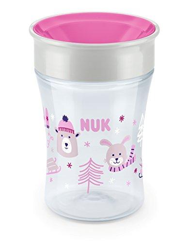 NUK Magic Cup Trinklernbecher, 360° Trinkrand, auslaufsicher abdichtende Silikonscheibe, ab 8 Monaten, BPA-frei, 230ml, Winter-Edition, rosa