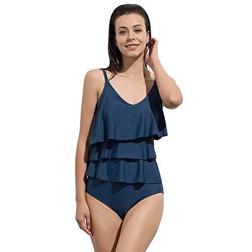 Women 'S tibetischen blau Split Zweiteiliger Badeanzug europäischen und amerikanischen eleganten Slim Cover Bauch konservativen einfarbigen Bademode gekräuselten Strand/Urlaub Bikini