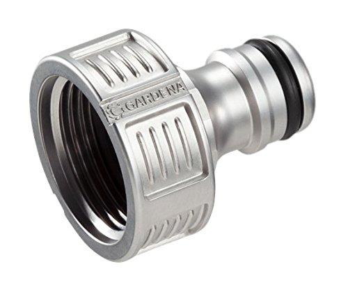 GARDENA Premium Hahnverbinder 26.5 mm (G 3/4 Zoll), Adapter für Wasserhähne, wertiges Metall, spritzfreier Wasserfluss, frostsicher, verpackt, 18241-20