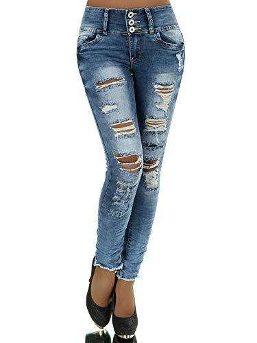 N281 Damen Jeans Hose Corsage Damenjeans High Waist Röhrenjeans Hochbund, Farben:Blau, Größen:38 (M)