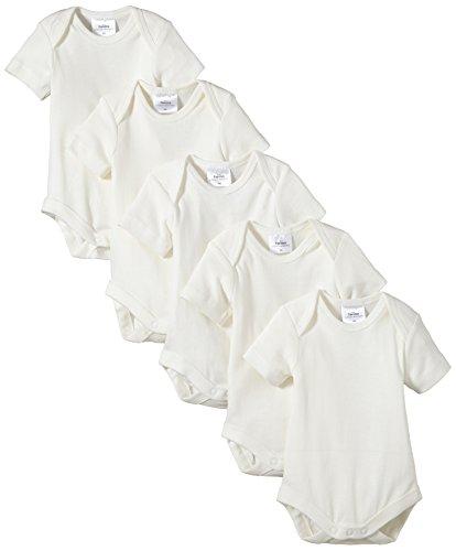 Twins Unisex Baby - Kurzarm-Body aus Bio Baumwolle im 5er Pack, Einfarbig, Gr. 80, Off White (snow white)