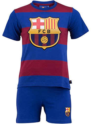 Kinder-Pyjama, FC Barcelona, offizielles Produkt, Kindergröße, Jungen 10 Jahre blau