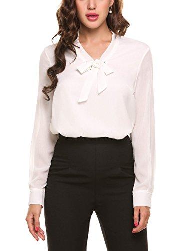 Beyove Damenshirts Classics Lockere V-Ausschnitt Schirt Basic Schluppenbluses Bluse Langarmshirt Einfarbig