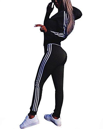 Minetom Tomwell Damen Mode Streifen Trainingsanzug Frauen Lange Ärmel Zipper Top + Lange Hose Sportswear 2 Stück Set Sport Yoga Outfit Schwarz DE 36