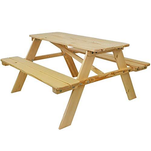 SunDeluxe Kinder Picknicktisch - Sitzgruppe aus Holz 90 x 90 x 49 cm Natur für drinnen und draußen - Spieltisch/Gartentisch für Kinder - mit abgerundeten Ecken und Kanten