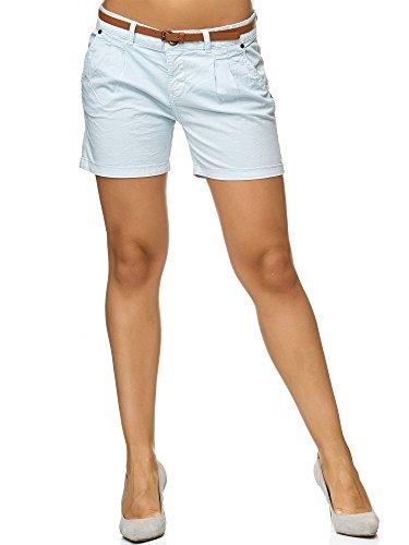 Sublevel Damen D6053Z61713KBS Chino-Shorts Kurze Hose inkl. Gürtel aus hochwertiger Baumwolle Hellblau XS