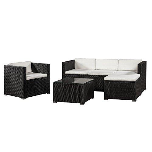 ArtLife Polyrattan Lounge Punta Cana L schwarz mit Bezügen in Creme | Gartenlounge mit Sofa, Sessel & Tisch für 4 - 5 Personen | Sitzgruppe