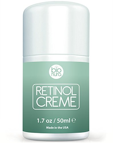 Bionura Retinol Feuchtigkeitscreme Creme - 2.5% Retinol Liefersystem mit 15% Vitamin C & Vegan Hyaluronsäure - Der effektivste Natürliche Anti Aging & Anti Falten Retinol Feuchtigkeitsbehandlung. 50ml