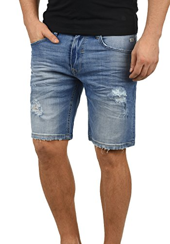 Blend Deno Herren Jeans Shorts Kurze Denim Hose Mit Destroyed-Optik Aus Stretch-Material Regular Fit, Größe:S, Farbe:Denim middleblue (76201)
