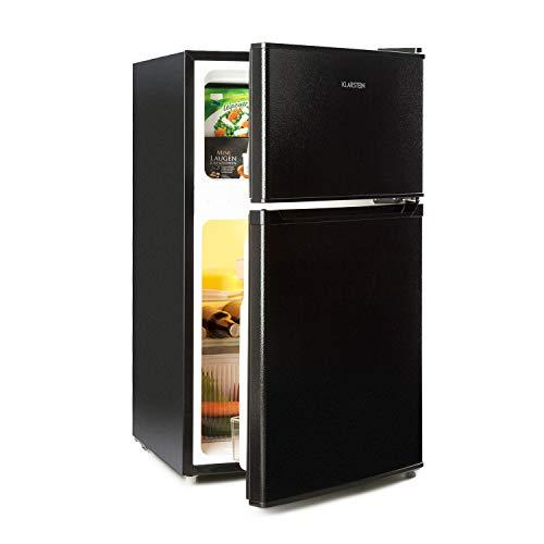 Klarstein Big Daddy Cool Kühl-Gefrier-Kombination - 61 Liter Kühlschrank, 26 Liter Gefrierschrank, Energieeffizienzklasse A+, freistehend, 42 dB, 2 Glasablagen, 2 Tür-Depots, schwarz