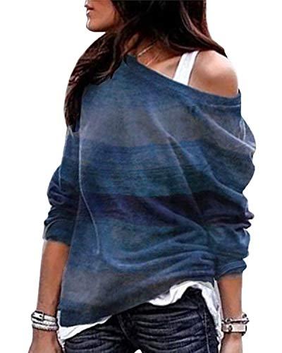 YOINS Sexy Schulterfrei Oberteil Damen Shirt Off Shoulder Top Pullover Damen Rollkragen Langarm Gestreift Pulli Lose Tshirt Hemd A-Blau EU36-38