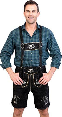 Almwerk Herren Trachten Lederhose kurz Platzhirsch, Farbe:Schwarz, Größe Herren:44