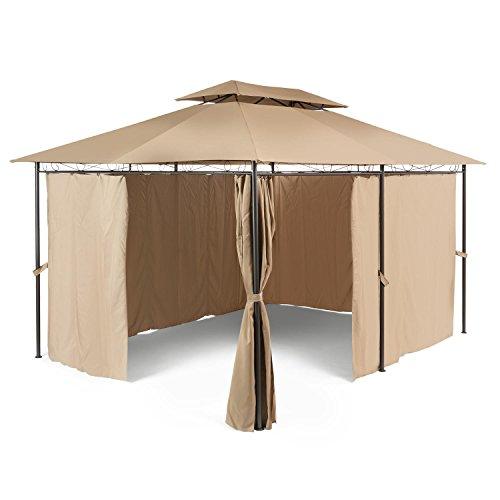 blumfeldt Grandezza • Pavillon • Partyzelt • Gartenpavillon mit Seitenwänden • 3 x 4 m • Stahlrohrkonstruktion • Metallornamente • braun