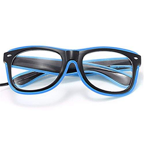 ERGEOB® Coole selbstleuchtende EL Wire Brille mit Batteriebetrieb und Modusänderung in Blau - DIE PARTYBRILLE Ideal für Fasching, Karneval, Festivals, Halloween, Raves, Clubbesuche.